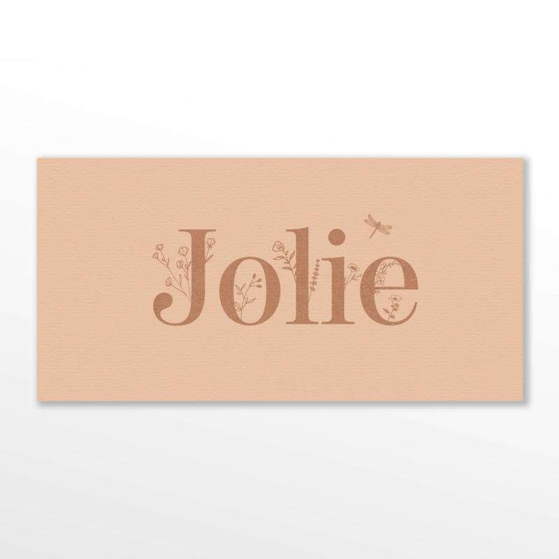 GEBOORTEKAARTJE BLOEMEN EN LIBELLE MEISJE 'JOLIE'
