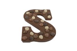 Chocoladeletter Hazelnoten alleen 'S' (melk,wit of puur)