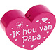 Houten kraal ''ik hou van papa'' fuchsia ''babyproof''