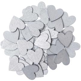Rico houten hartjes Zilver 20x20mm ±48stuks
