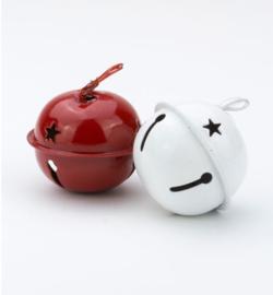 Kerstbelletjes wit en rood 3,5 cm - 6 stuks
