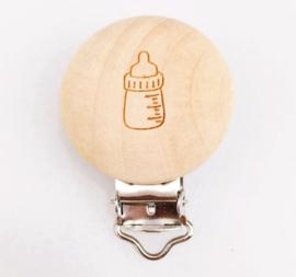 Houten speenclip houtkleurig blank met speen flesje