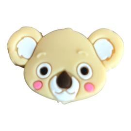 Siliconen kraal Koala hoofd - Beige