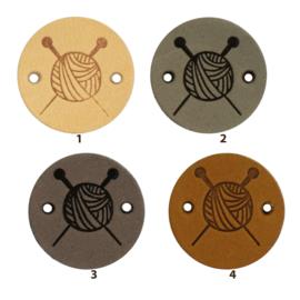 Durable Leren labels rond 2cm - Knitting per 2 stuks