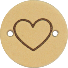 Durable Leren labels rond 2cm - Heart per 2 stuks