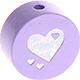 Houten kraal hart lila ''babyproof''