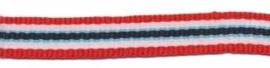 Blauw/rood/wit gestreept  lint 10 mm breed