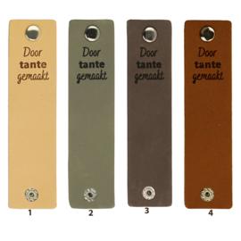 Durable Rechthoekige leren labels met drukknoop van 12 x 3 cm - Door Tante gemaakt per 2 stuks