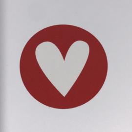 Kadosticker rood hartje 10 stuks
