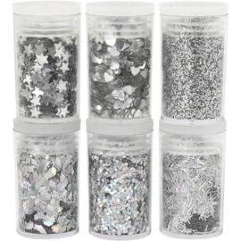 Glitter en pailletten zilver 6 x 5 gram