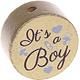 Houten kraal ''It's a Boy'' goud ''babyproof''