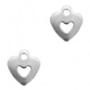 Bedel hart met hartje zilver (RVS)