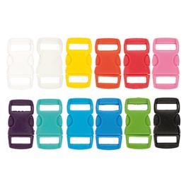 Klikgespen gekleurd 27x14- paracord sluiting 12 kleurtjes