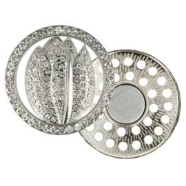 Magnetische Broche Tulp 45mm Zilver