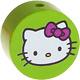 Houten kraal rond ''Hello Kitty'' lichtgroen ''babyproof''
