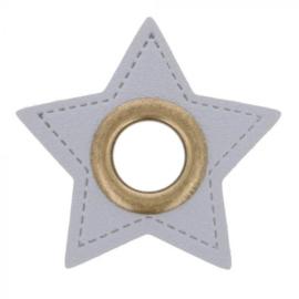 Nestel op grijs Skai-leer ster 8mm Brons