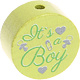 Houten kraal ''It's a Boy'' lime ''babyproof''