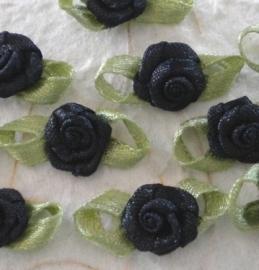 Satijnen roosje met blaadjes zwart