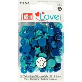 Kamsnaps Prym Love Color ster 12,4mm donkerblauw, cobalt en zeegroen