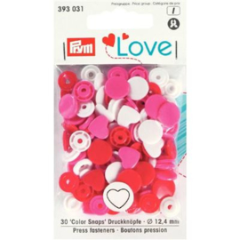 Kamsnaps Prym Love Color hart 12,4mm roze, wit en rood