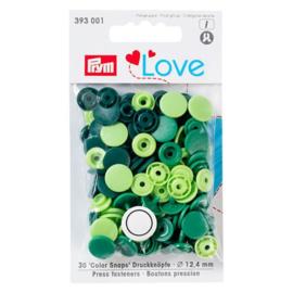 Kamsnaps Prym Love color rond 12,4mm donkergroen, groen en lime
