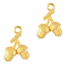 Bedels DQ metaal Eikeltjes goud(nikkelvrij) per stuk