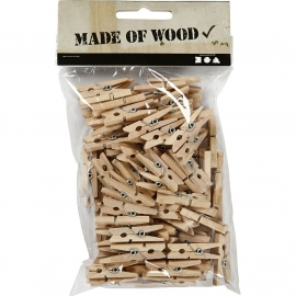 Mini Wasknijpers berkehout 30 x 3mm ±100stuks