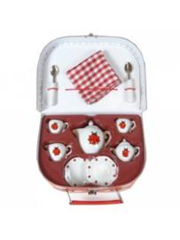 Koffertje met porcelein servies Lieveheersbeestje in koffertje