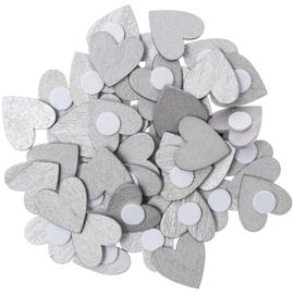 Rico houten hartjes Zilver 20x20mm ±48stuks met plakrondje