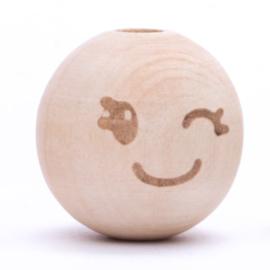 Houten kraal -Smiley Cute knipoog- 20mm