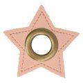 Nestel op roze Skai-Leer 11mm brons ster
