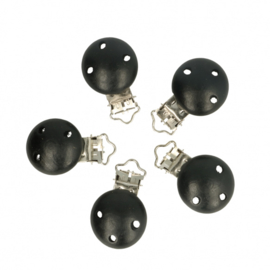 5 kleine houten speenclips Opry  Zwart