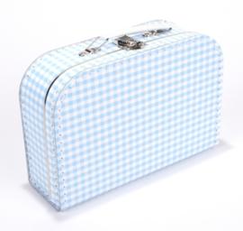 Koffertje Lichtblauw/wit ruitje 25cm