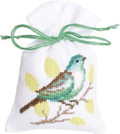 Geurzakje Groene vogels en Vlinder set van 3