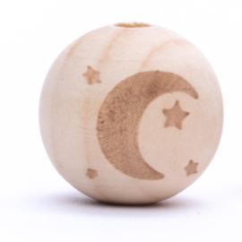 Houten kraal met Maan en sterren  Horizontaal 20 mm