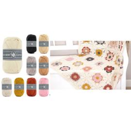 Pakket Coaster Square deken Cream (inclusief patroon!)