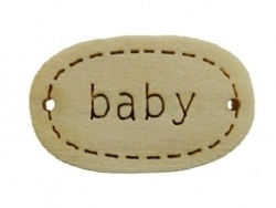 Houten labeltje met inscriptie Baby 11x17mm