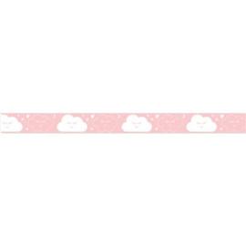 Lint met wolken Lichtroze15 mm