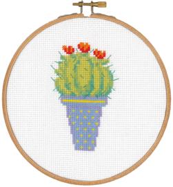 Telpatroon aida cactus met rode bloemen