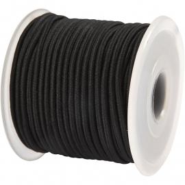 Koordelastiek 2 mm Zwart