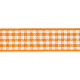 Geruit lint - vicky 10mm Oranje