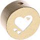 Houten kraal hart goud ''babyproof''