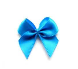 Strikje satijn Blauw aquablauw 24x24mm
