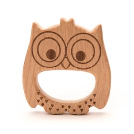 Blanke houten figuur ringen voor speenkoord e.d.