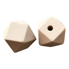 Houten Hexagon Facet kraal 16mm Peach