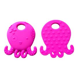 Siliconen bijtring - speenkoord ring Octopus - Inktvis  Fuchsia