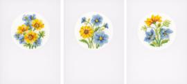 Bloemen telpatroon aida set van 3 kaarten