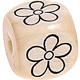 Houten Letterkraal gegraveerd 10mm -bloem-