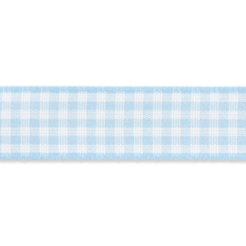 Geruit lint - vicky 10mm Licht Blauw