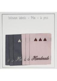 "Go Handmade stoffen label""Handmade"" Mix - 6 stuks"